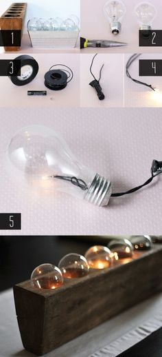 DIY Battery Powered Upcycled Light Bulb Centerpiece | Shelterness
