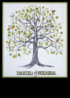 wedding guestbook fingerprint tree    I drew the tree :) Wedding Signs, Wedding Stuff, Special Day, Special Events, Fingerprint Tree, Tree Logos, Party Favours, Family Trees, Sister Wedding