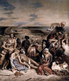 Eugène Delacroix, Massacre at Chios Louvre. Eugène Delacroix, Scene of… William Turner, Delacroix Paintings, Eugène Delacroix, Romanticism Artists, Art Français, Famous Art, Oil Painting Reproductions, Magritte, French Artists