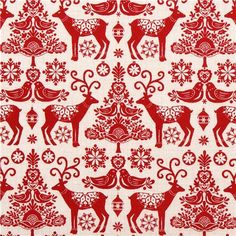 cream Christmas reindeer fabric Andover from the USA