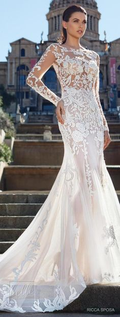 """The Ricca Sposa Wedding Dress Collection 2018 """"Hola, Barcelona!"""" offers a variety of stunning + glamorous pieces with a sexy-chic flair and a feminine approach. Gorgeous Wedding Dress, Beautiful Bride, Beautiful Dresses, Wedding Dresses 2018, Bridal Dresses, Dress Collection, Designer Dresses, Marie, Ball Gowns"""