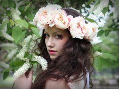 Vintage Pink  and Peach Flower Crown by rougepony on Etsy, £35.00