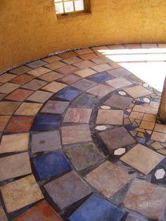 Earthbag Building: Round House flooring. Bathroom or kitchen idea....