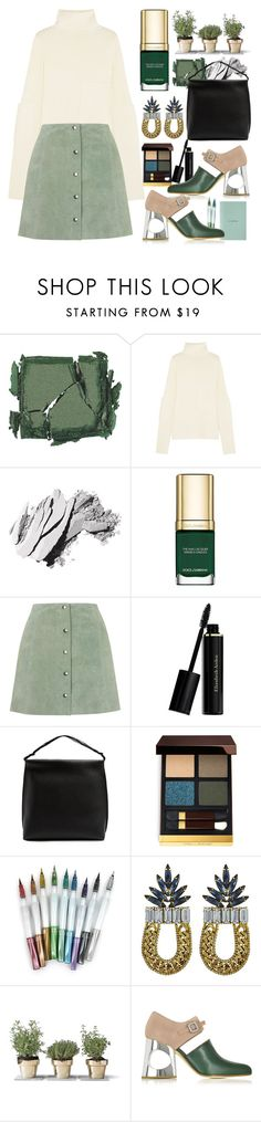 """""""Green With Envy: Wintery Nail Polish"""" by sofirose ❤ liked on Polyvore featuring beauty, Surratt, Joseph, Bobbi Brown Cosmetics, Dolce&Gabbana, Topshop, Elizabeth Arden, The Row, Tom Ford and DANNIJO"""
