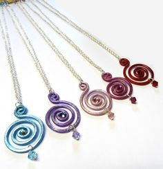 Spiral Pendant With Swarovski Crystals Choose Your Own Colour