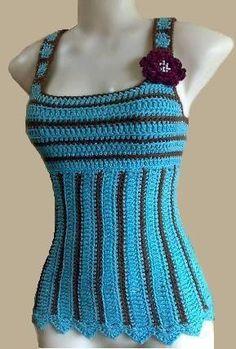 Crochet Tank Top Pattern Turquoise Delight Camisole Women door Mamta