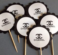 Chanel themed cupcake toppers
