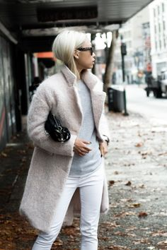 white jean + nude coat + grey knit  You already have the coat and the black raincoat would look good; you've pinned the jeans, just need a structured top like my brown Prada one.  Just noticed the white top and the pink one-perfect. .