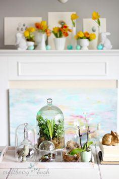 Nests under glass. Craftberry Bush: Simple Easter mantel