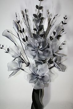 Artificial #flowers large black & #white nylon #flower #arrangement in vase 95cm h, View more on the LINK: http://www.zeppy.io/product/gb/2/141998553159/