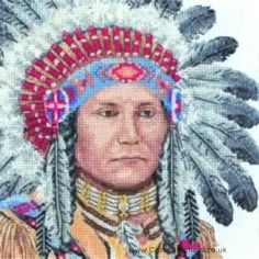 Free Native American Cross Stitch   native american indian maia cross stitch kit this counted cross stitch ...