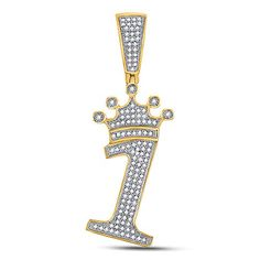 10kt Yellow Gold Mens Round Diamond Number 1 Crown Charm Pendant 1/3 Cttw Tiea Jewels Initial Pendant, 3 Carat, Types Of Metal, Round Diamonds, Colorful Backgrounds, Initials, Numbers, Gems, Charmed