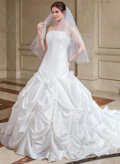 Ball-Gown Strapless Cathedral Train Taffeta Wedding Dress With Ruffle Flower(s) (002000504) - JJsHouse