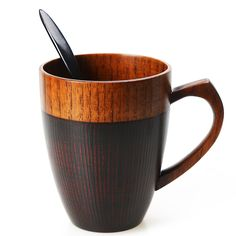 Cool Coffee Mug, Handmade Wood Coffee/Tea Cup 11 OZ with Spoon for Men/Women, Best Eco-friendly Wood Gifts(1, Black)