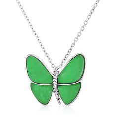 Bling Jewelry Bling Jewelry Simulated Jade Butterfly Crystal Necklace... ($33) ❤ liked on Polyvore featuring jewelry, green, butterfly wing jewelry, butterfly pendant necklace, jade pendant, crystal pendant necklace and green jade pendant