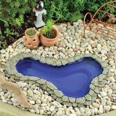 "Amazon.com : Janit Calvo's Miniature Fairy Garden Garden Pond, Pear shape Medium 7.75"" L x5.26""W : Patio, Lawn & Garden"