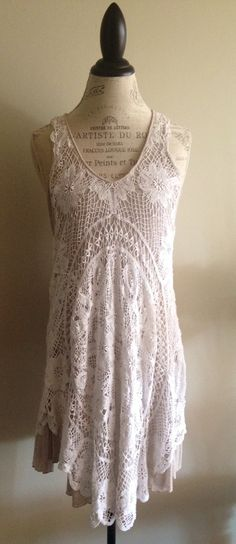 Hand crochet Bohemian summer dress with mauve lining by BohoAngels, $380.00