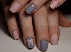 Matte grey nude nails