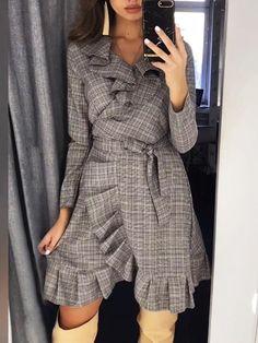 Women's Clothing, Dresses, Print $37.99 - Boutiquefeel Trend Fashion, Fashion Wear, Work Fashion, Dress Sewing Patterns, Apron Patterns, Belted Shirt Dress, Apron Dress, Feminine Style, Wrap Dress