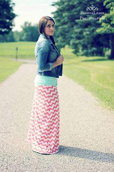Coral Chevron Maxi Skirt For Women