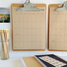Clipboard wall hanging calendar (removable and can add/edit sheets as necessary)