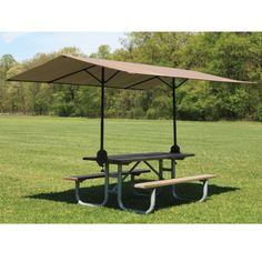 This portable canopy clamps to any rectangular wooden table and provides up to 75' sq. of shade. The unit's adjustable bracket clamps latch onto picnic tables, the three-piece frame sets up in seconds, and the canopy simply slides over the frame.