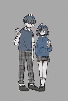 Cute Couple Drawings, Cute Couple Art, Cute Drawings, Cute Couples, Pencil Art Drawings, Cute Art Styles, Cartoon Art Styles, Kawaii Drawings, Cartoon Drawings