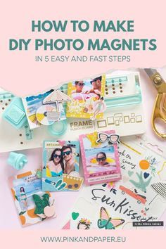 Display your favorite photos in a fun way. I show you How to Make DIY Photo Magnets in 5 Easy Steps Diy Magnets, Photo Magnets, How To Make Diy, How To Make Paper, Magnetic Photo Frames, Easy Frame, Mini Photo, Crate Paper, Paper Frames