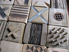 carved and decorated wood blocks.