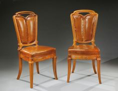 ** Emile Gallé (French, 1846-1904), Nancy, Mahogany and Leather Chairs.