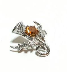 Silvertone Thistle Brooch Scottish Topaz by GracesVintageGarden
