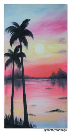 Twin Trees Sunset by SanthiyaArtPage on Etsy