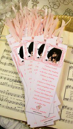 Wedding Shower Favors Gifts Set of 35 Bookmarks Audrey Hepburn I Believe in Pink. $35.00, via Etsy.