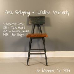 Urban Reclaimed Wood Seating Industrial Bar Stool Chair w/ Steel Back - Industrial Salvaged Barn Wood