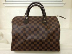 LV Speedy 30 Damier Ebene w/ my hot stamp initials #LouisVuitton #damierebene #speedy30
