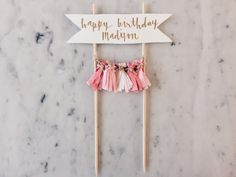 Cake Topper / Modern Calligraphy / Custom Hand Lettered / Blush Pink Pinks / Made-To-Order/ Hand Made Mini Tassels / Birthday Party Gold Diy Cake Topper, Birthday Cake Toppers, Birthday Diy, Happy Birthday, Birthday Parties, Design Your Own Cake, Cake Banner, Ideias Diy, Party In A Box