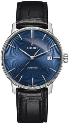 RADO Coupole Classic stainless steel and leather watch Modern Watches, Luxury Watches, Watches For Men, Men's Watches, Stainless Steel Bracelet, Stainless Steel Case, Rado, Bracelets For Men, Jewelry Watches