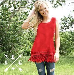 Red tank with tassel lace from Southern Grace. Small 2-4, Medium 6-8 Large 10-12, XL 14-16, 2XL 18-20 Classy Cowgirl Co- Gypsy Cowgirl ,Fun & Funky Western