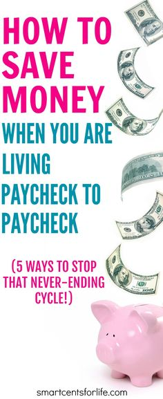 Saving money when you are living paycheck to paycheck can be difficult but not impossible. Here are 5 ways to save money and stop that never-ending cycle. Ways to save money | money saving tips | Budgeting | #moneytips #moneysavingtips #howtosavemoney
