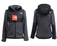 north face jacket,Black Gray The North Face Hoodie Jackets For Women