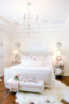 How to Decorate with a Limited Budget - Randi Garrett Design Paint – Ralph Lauren's Edwardian Linen mixed by Dunn Edwards Bedroom Decor Glam Bedroom, Pretty Bedroom, Home Bedroom, Bedroom Ideas, Pink Master Bedroom, Design Bedroom, Feminine Bedroom, Bed Ideas, Modern Bedroom