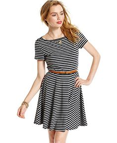 Wishes Wishes Wishes Juniors Dress, Short Sleeve Striped Belted - Juniors Dresses - Macy's