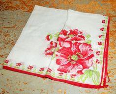 Vintage Handkerchief Floral Ladies Hanky Red Pink by TheBackShak