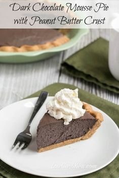 Low carb dark chocolate mousse pie with peanut flour crust
