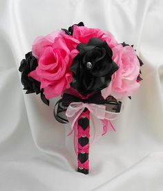 Wedding Bridal Bouquet Your Colors Hot Pink Black by BellinaBlue, $25.00 Light pink and brown instead of pink  black