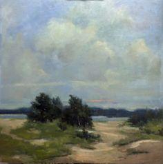 """Bethanne Cople, """"Windswept,"""" oil on board, 30 x 30"""