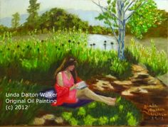 "Figurative Artists International: ""Quiet Reflection"", Original Contemporary figurative art of a woman in pink by a pond in a park setting, p..."