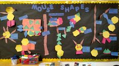 Bulletin board of children's creations based on the book Mouse Shapes Math Stem, Early Math, Math Books, Teaching Science, Math Games, Book Publishing, Early Childhood, Edc, Shapes