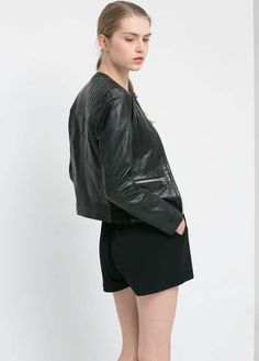 mango | Leather jacket #mango #leather #jacket