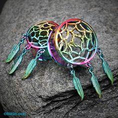 Rainbow Dreamcatcher Feather Dangle Ear Gauge Plug